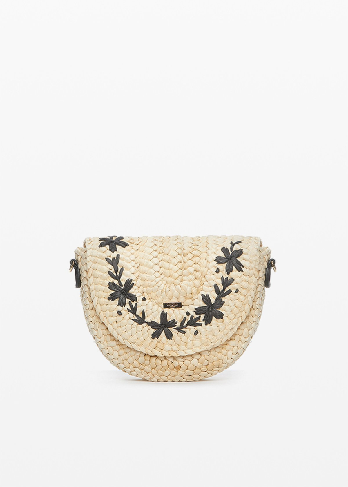 Bjork shoulder bag in straw with flower embroidery on the front - Light Beige / Black - Woman