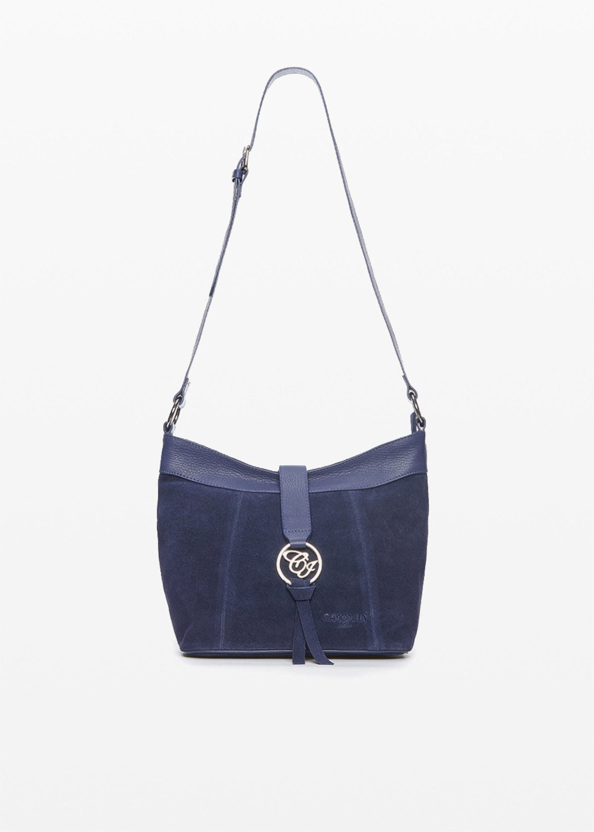 Bettie shoulder bag with metal logo - Medium Blue - Woman