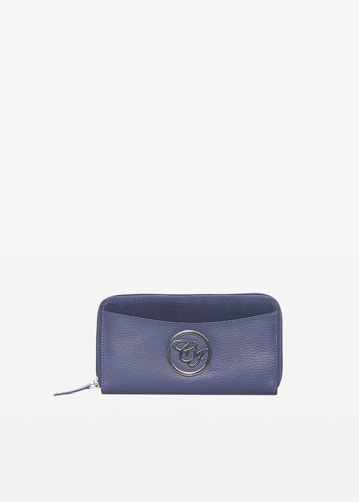 Leather and suede Peony wallet - Medium Blue - Woman