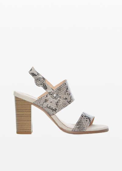 Faux leather Stephanie sandals python print