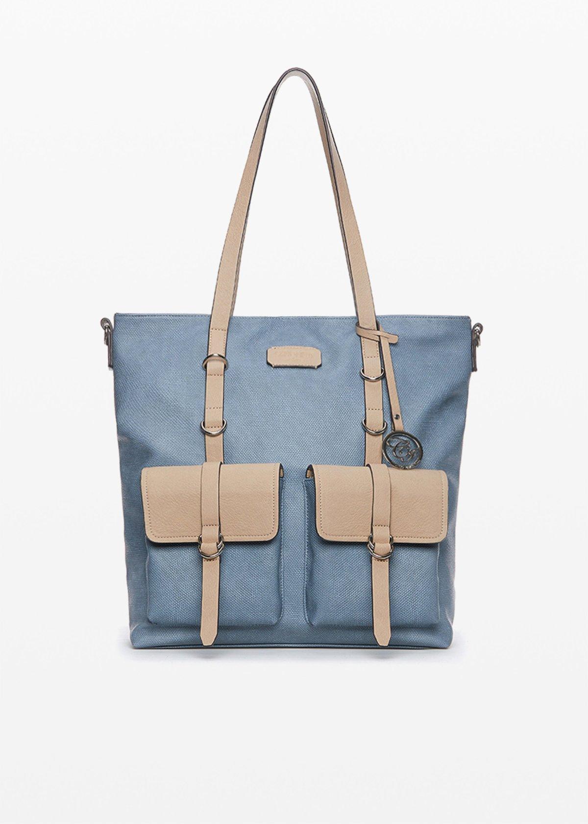 Bella faux leather bi-colour handbag with pockets - Shark / Doeskin - Woman