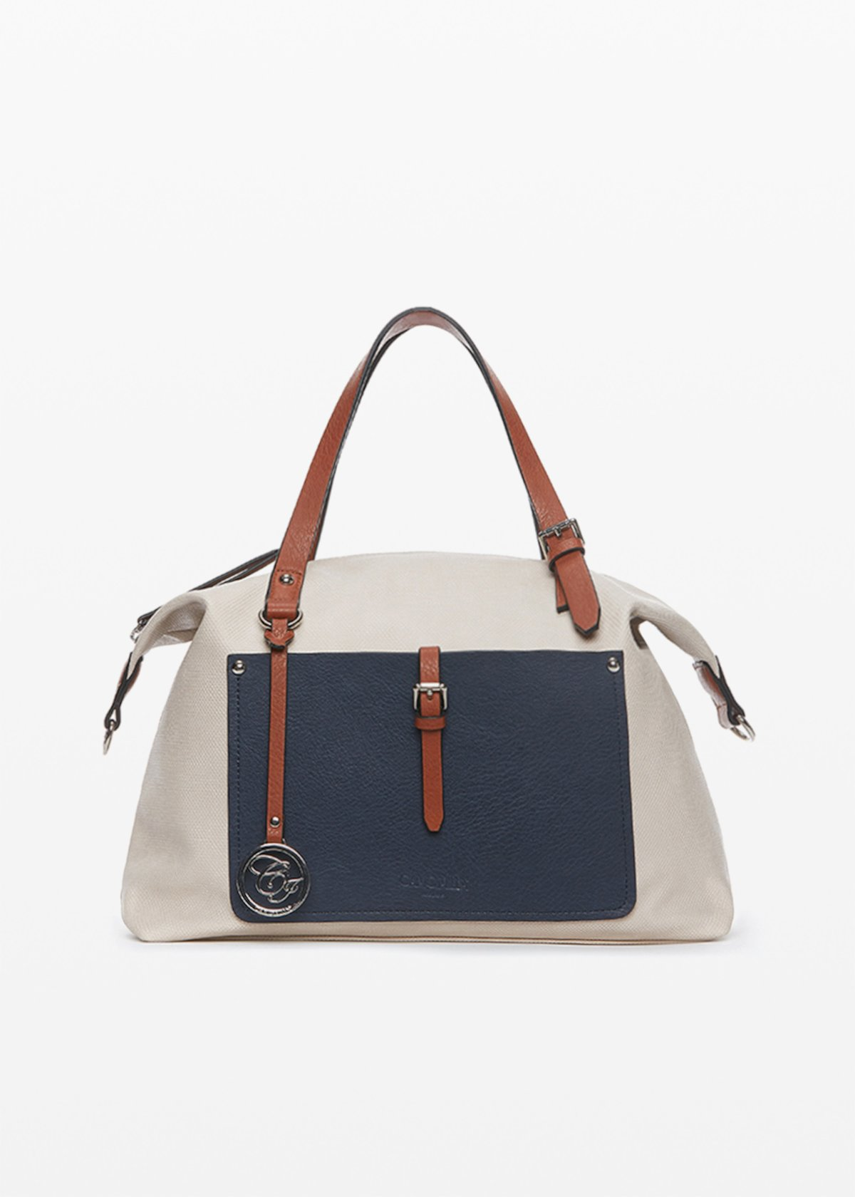 Faux leather Brenda handbag with front pocket - Light Beige /  Medium Blue - Woman