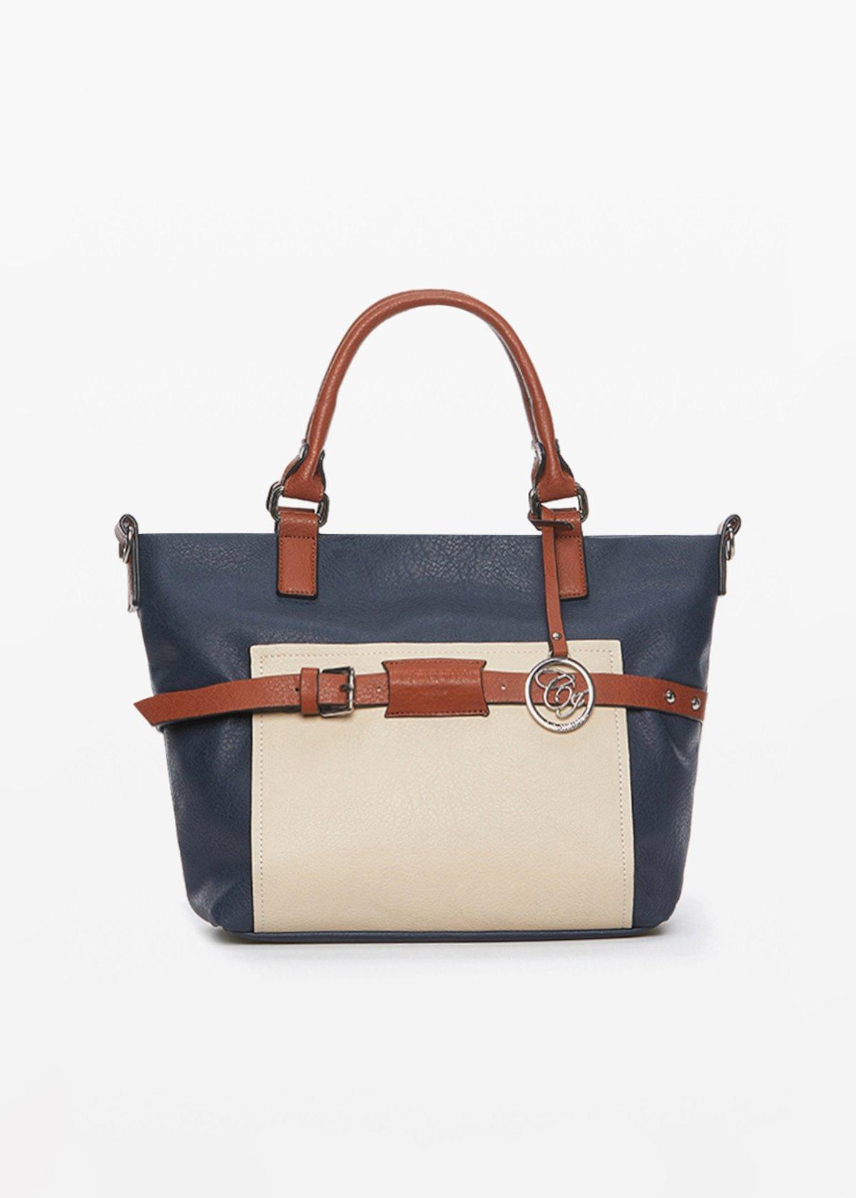 Brigida faux leather bag with shoulder strap - Light Beige /  Medium Blue - Woman