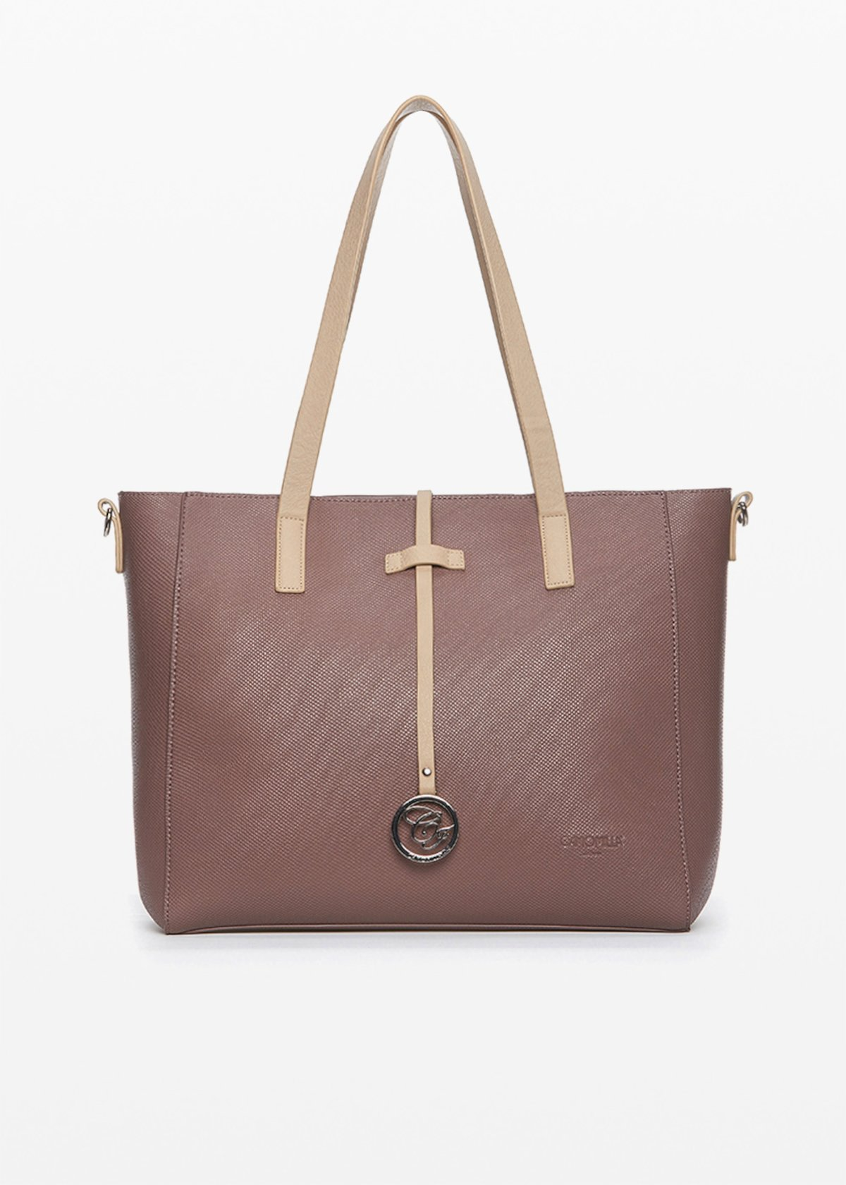 Brigitta Shopping faux leather bicolour bag with logo charm on the front