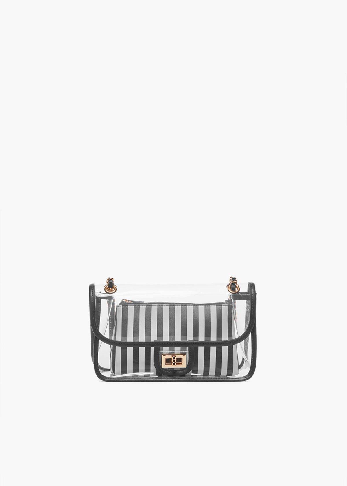 Transparent Bradley shoulder bag - Black / White Stripes - Woman