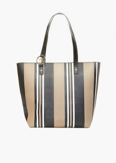 Beverly handles bag with stripes print