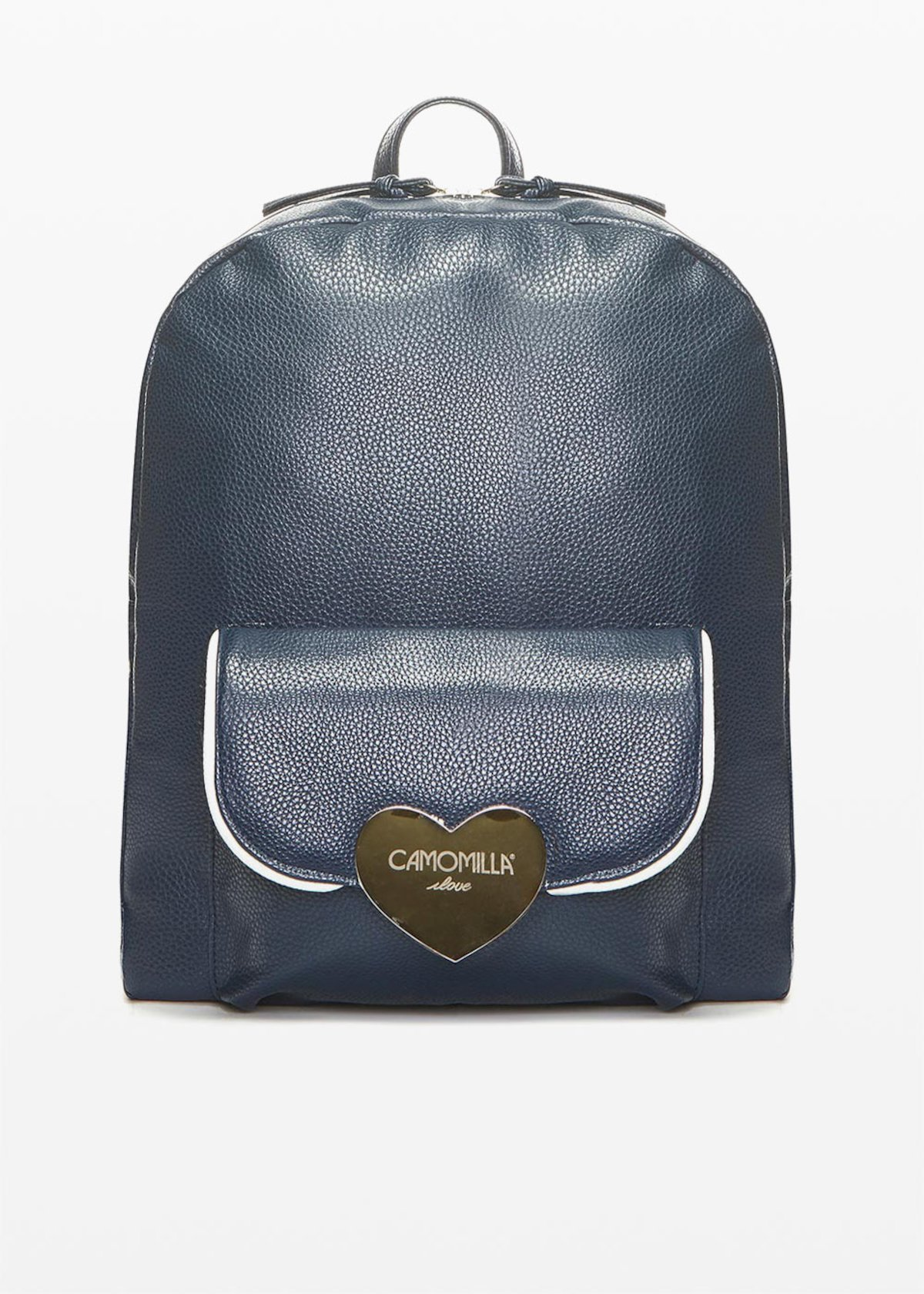 Faux leather Bithan backpack with deer print - Blu White Fantasia - Woman