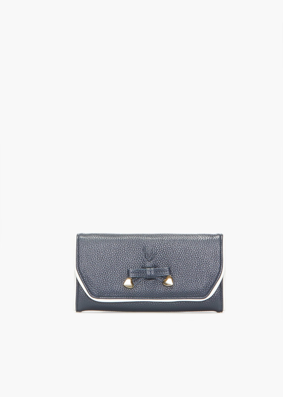 Faux leather Piping wallet with bow detail - Blu White Fantasia - Woman