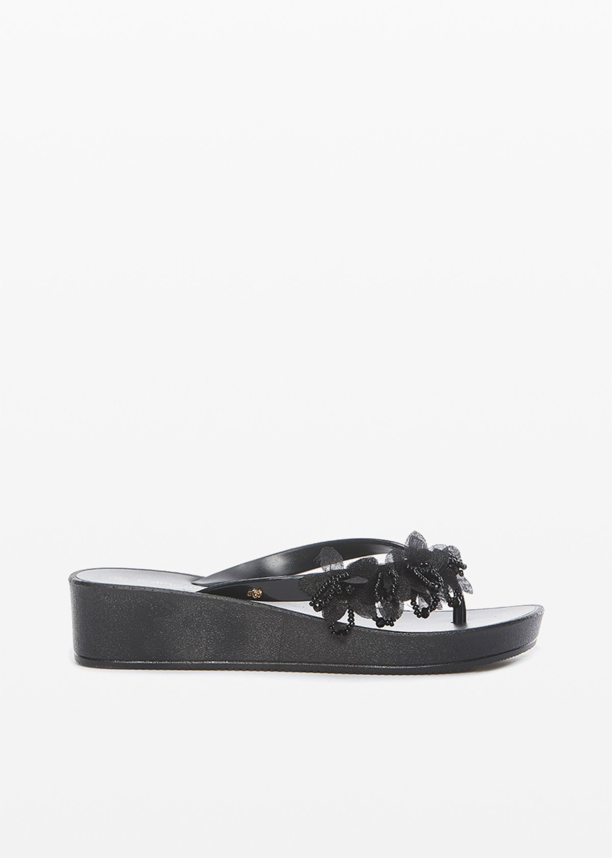 Clelia flops with flower and stones detail - Black - Woman - Category image