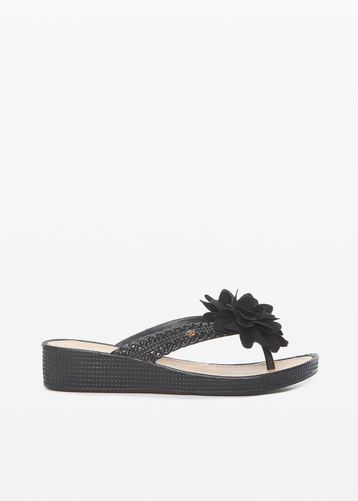 Clelia flops with flower and stones detail - Black - Woman