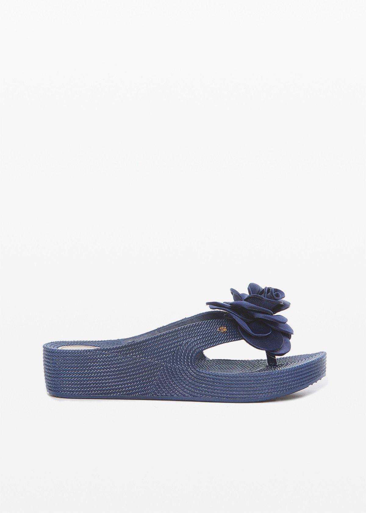 Carin flip flops with macro-flower stripes printed application - Medium Blue - Woman
