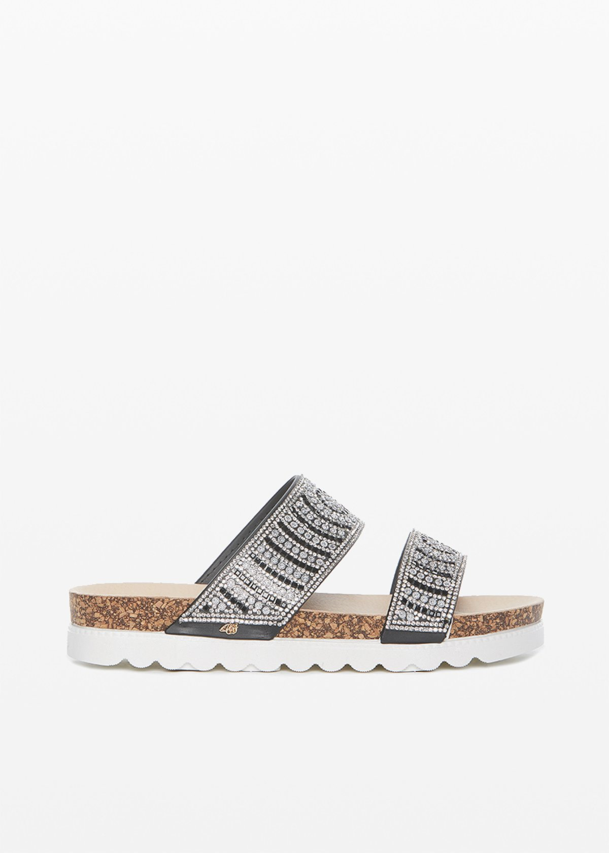 Shirl Flat Sandals with double strap and crystal-details - Black - Woman
