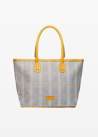 Shopping bag Bohemian con stampa check