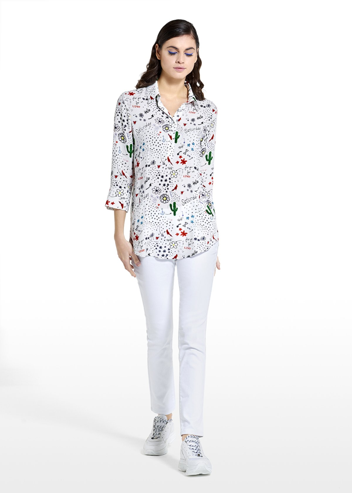 Patterned dream tomorrow blouse Candida with collar - Black White Fantasia - Woman