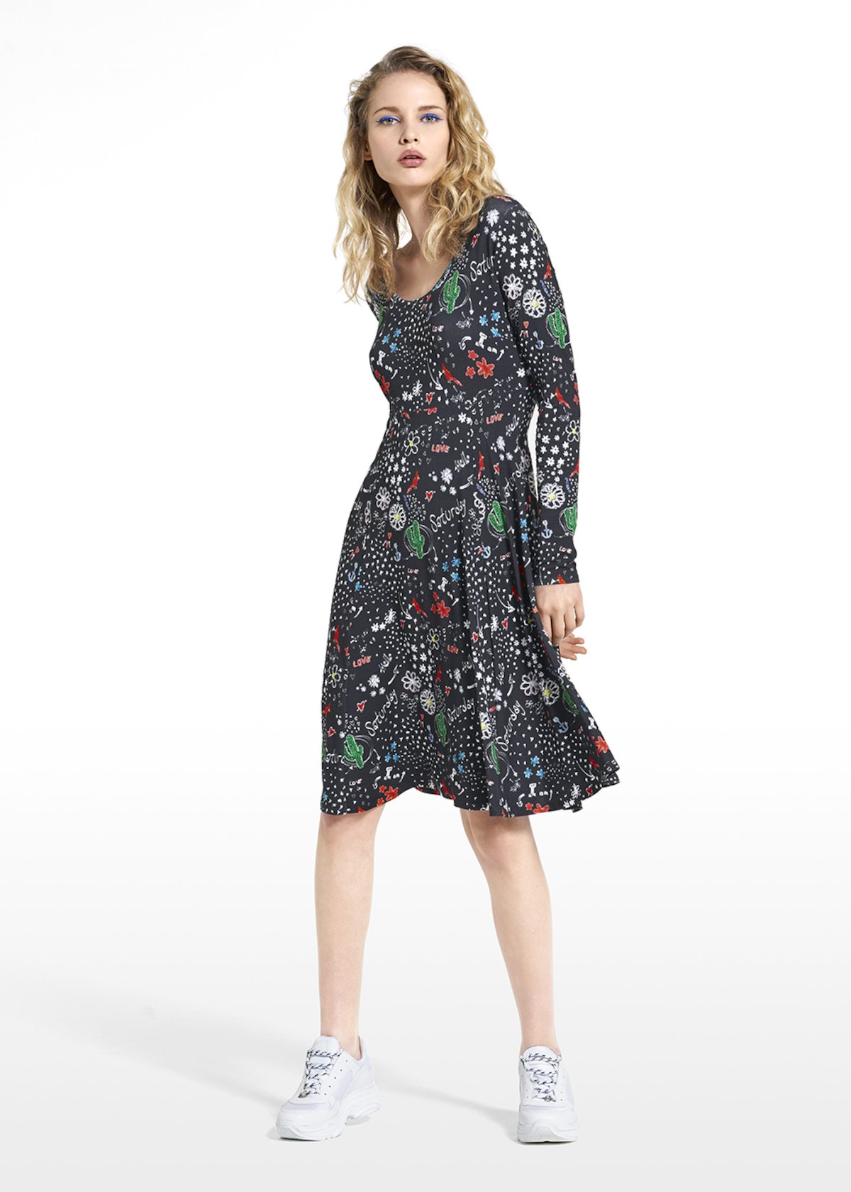 Patterned dream tomorrow dress Achille with long sleeves - Black / White Fantasia - Woman