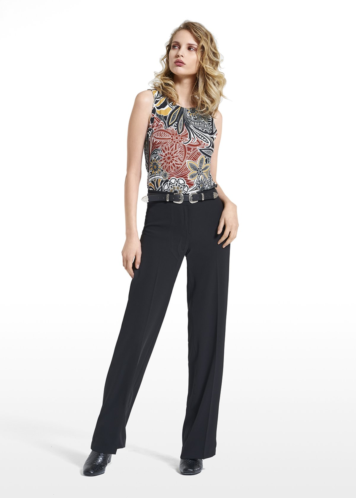 Pants Priamo in cady crêpe fabric with cuff at the bottom - Black - Woman