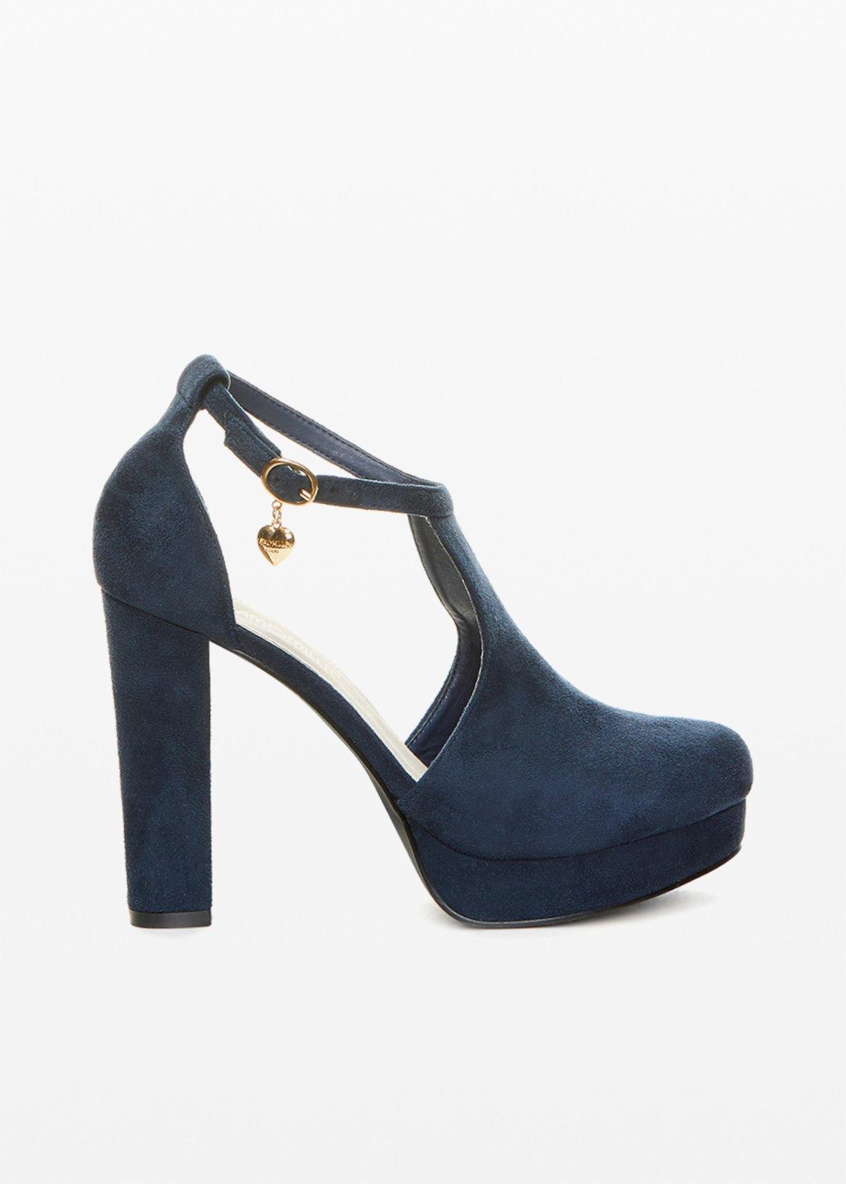 Faux suede Steila sandal with platform - Medium Blue - Woman