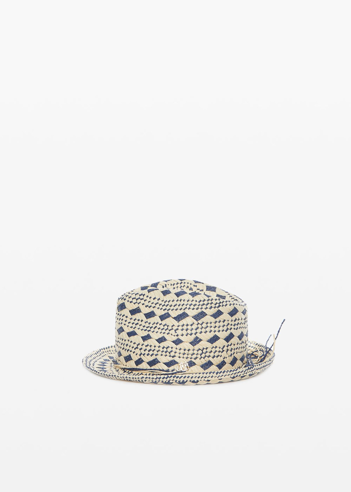 Cassis hat in natural color straw with avion rhombus - Light Beige / Avion Fantasia - Woman