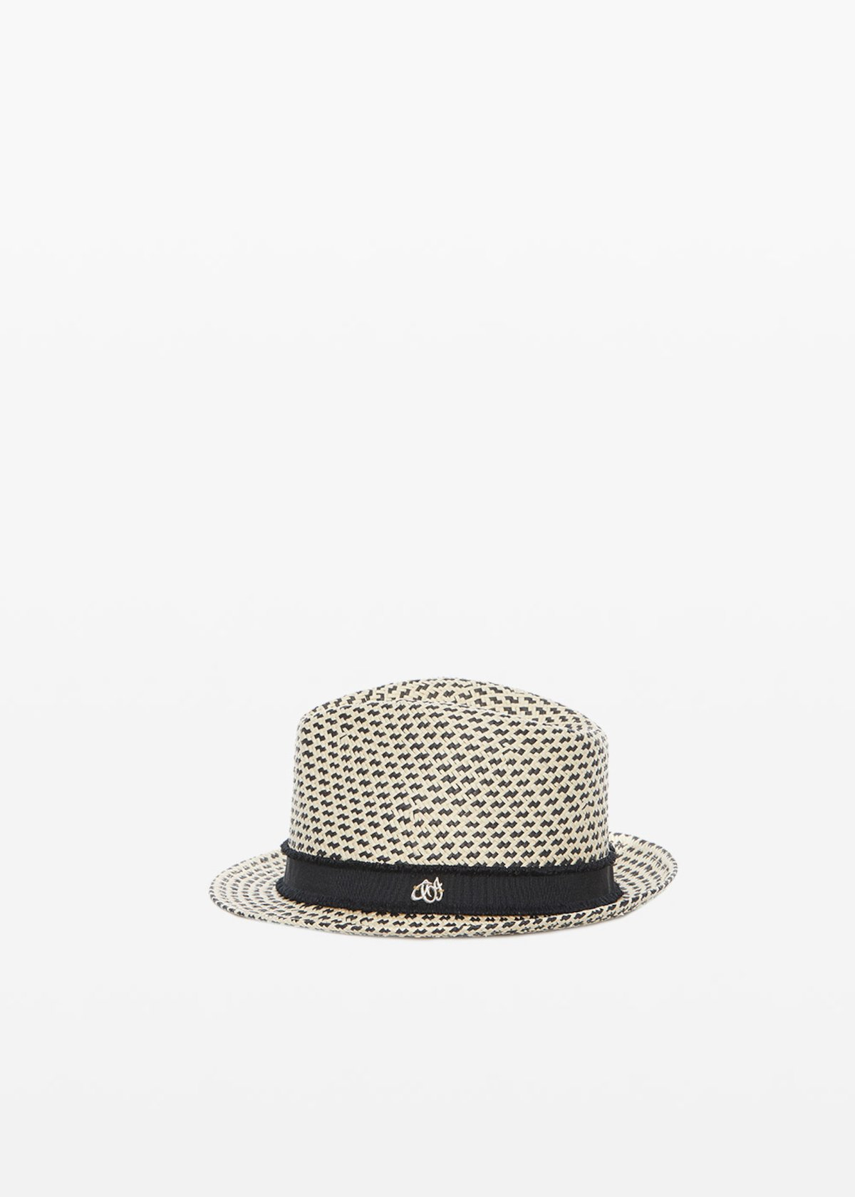 Charly straw hat with grosgrain detail - Beige / Black Fantasia - Woman