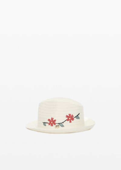 Clay straw hat with flowers embroidery