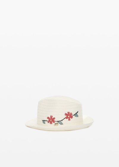 Cappello Clay in paglia con ricamo flowers
