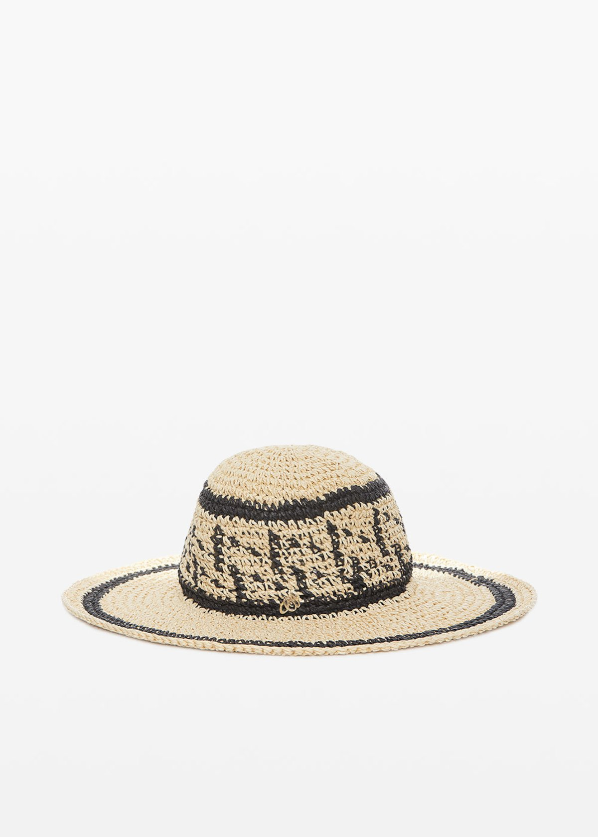 Crissy straw hat with contrasting decorations - Beige / Black Fantasia - Woman