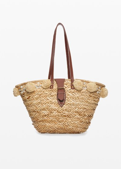 Marlie straw bag with pompon and shells details