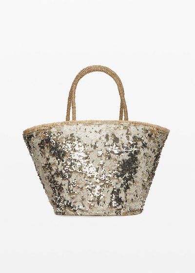 Muddy Straw bag with sequins