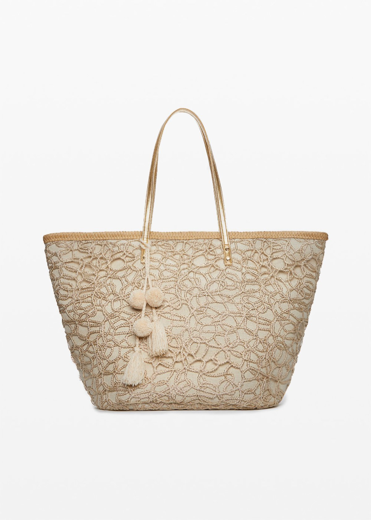Mawan Straw bag of lurex fabric basket and pompons - Gold - Woman