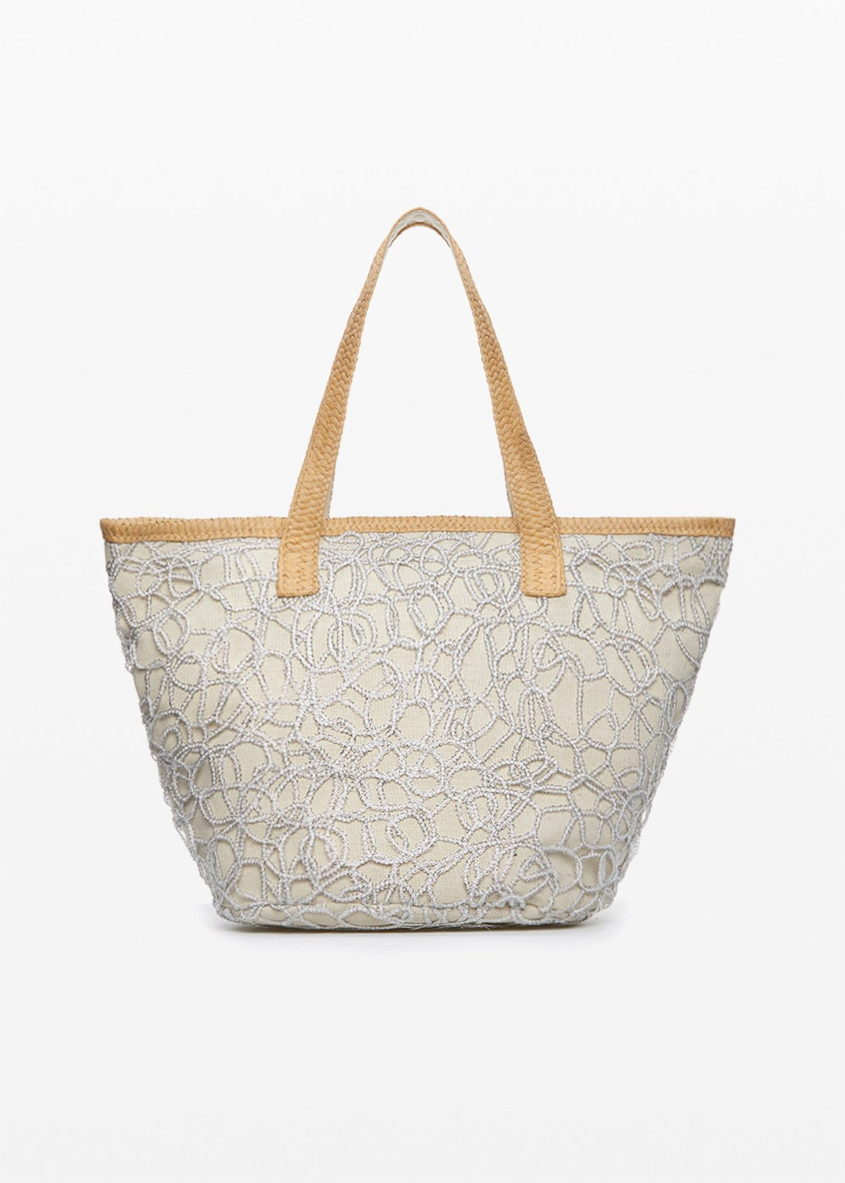 Mamdy bag of straw and fabric with lurex basket - Silver - Woman