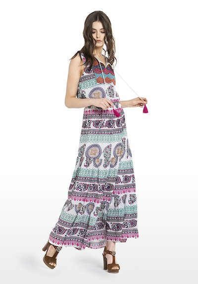 Sleeveless Abel dress multicolour fantasy and small stones on the front