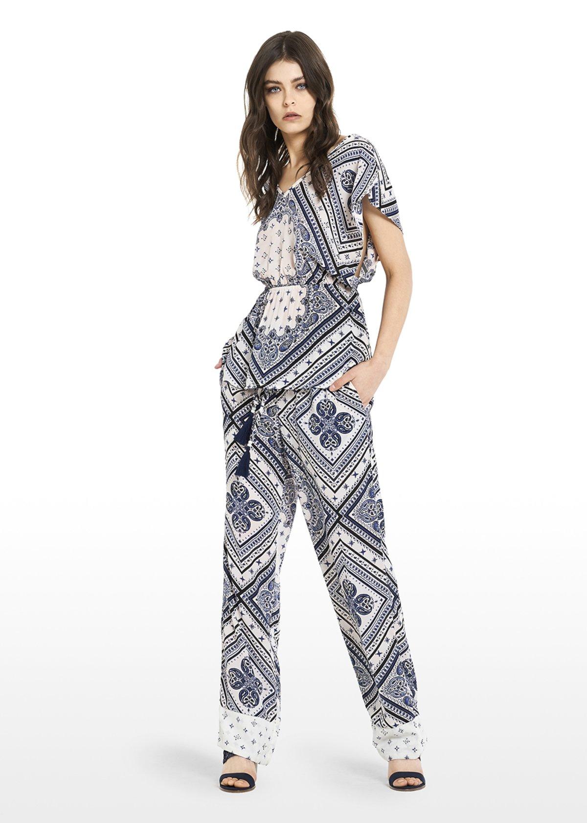 Pantaloni Parker all over printed con ricamo - White / Avion  Fantasia - Donna