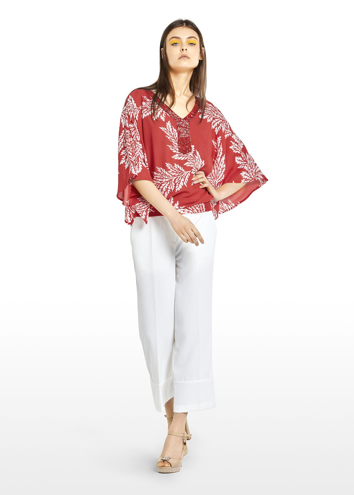 Catia blouse with printed leaves and embroidery on the neck - Tulipano\ White\ Fantasia - Woman
