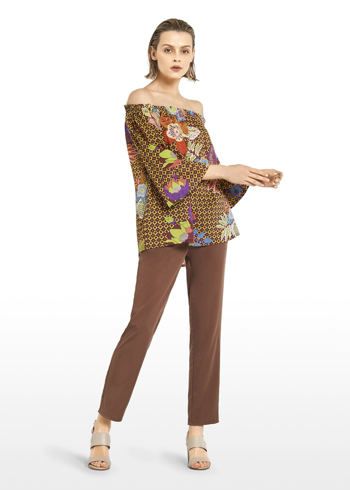 Charlie allover-printed cotton blouse - Tobacco\ Ananas\ Fantasia - Woman