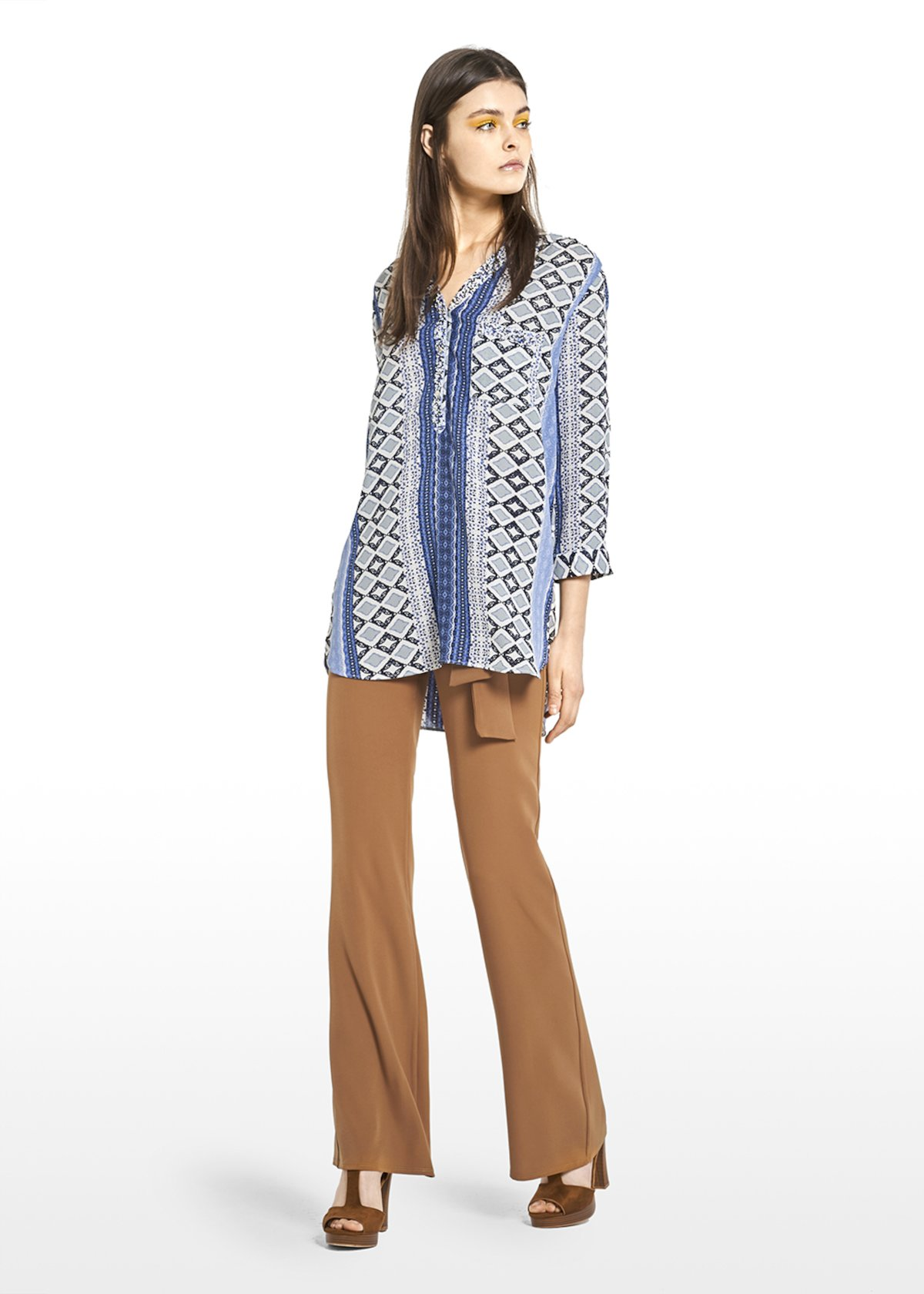 Clinzia georgette blouse in python printys long dress with V-neck - Avion / White Fantasia - Woman