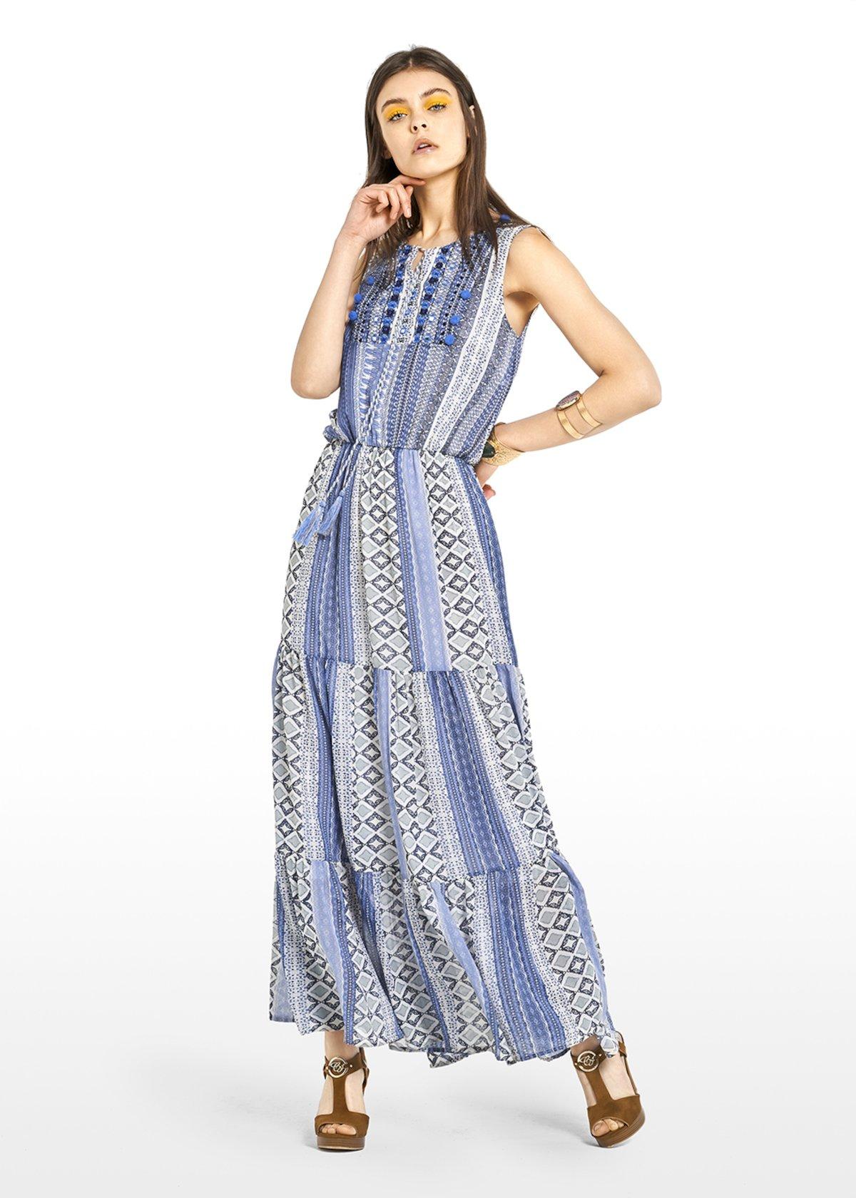 Abely dress in python print georgette - Avion / White Fantasia - Woman