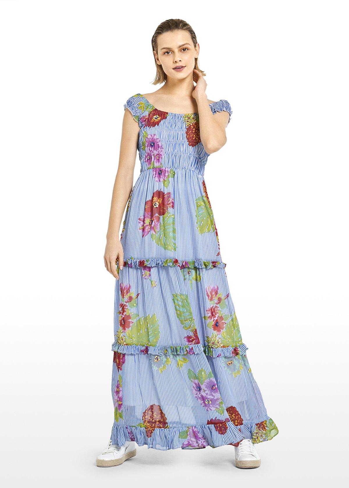 Long Akym georgette dress with Hawaiian flowers motif - Avion / White Fantasia - Woman