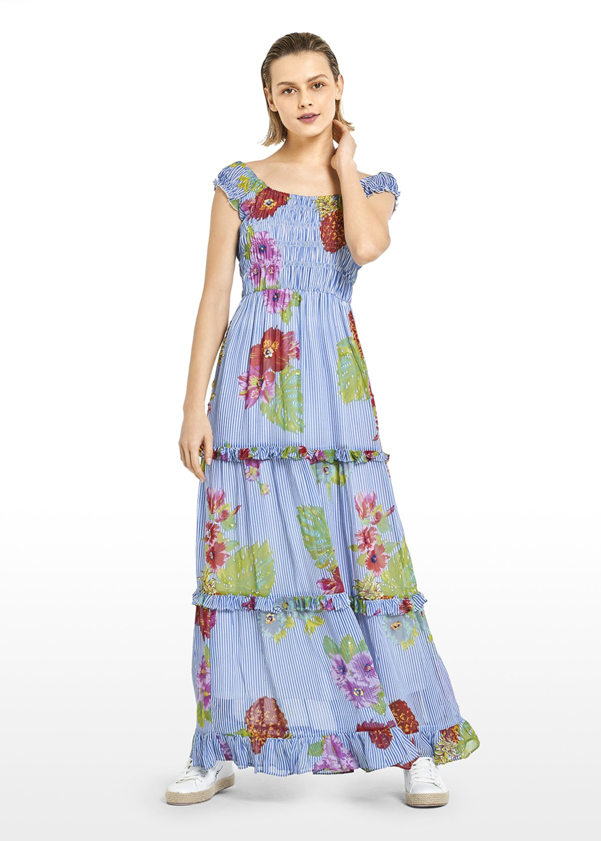 Long Akym georgette dress with Hawaiian flowers motif - Avion / White Fantasia - Woman - Category image