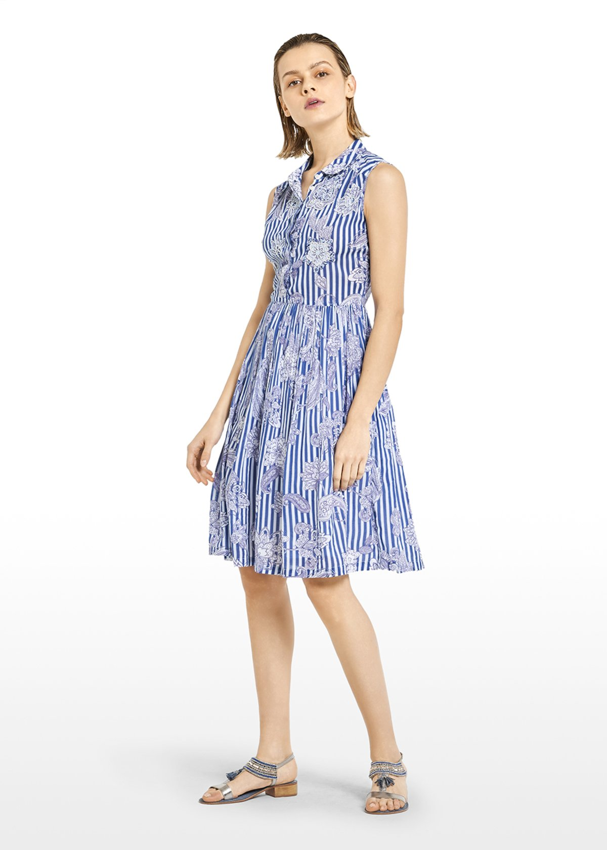 Alain dress in cotton with stripes and paisley