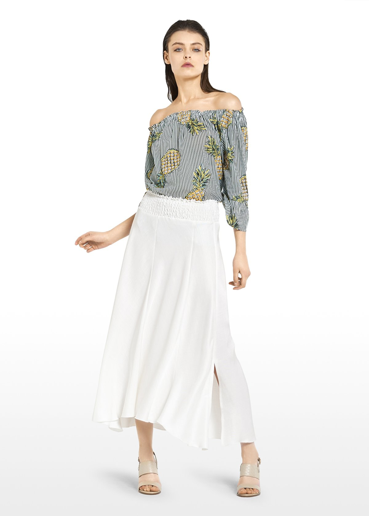 Chyla blouse with smock stitching at the neckline - White\ Amazon\ Fantasia - Woman