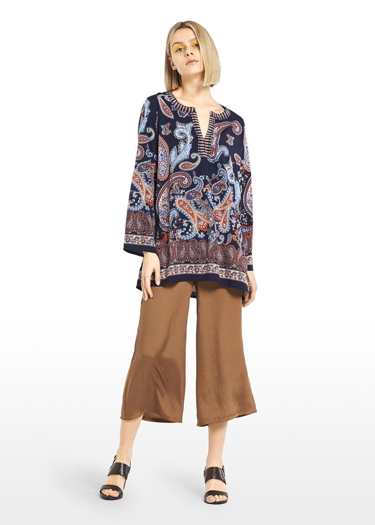 V neck Caren blouse paisley print - Blue / Tulipano Fantasia - Woman