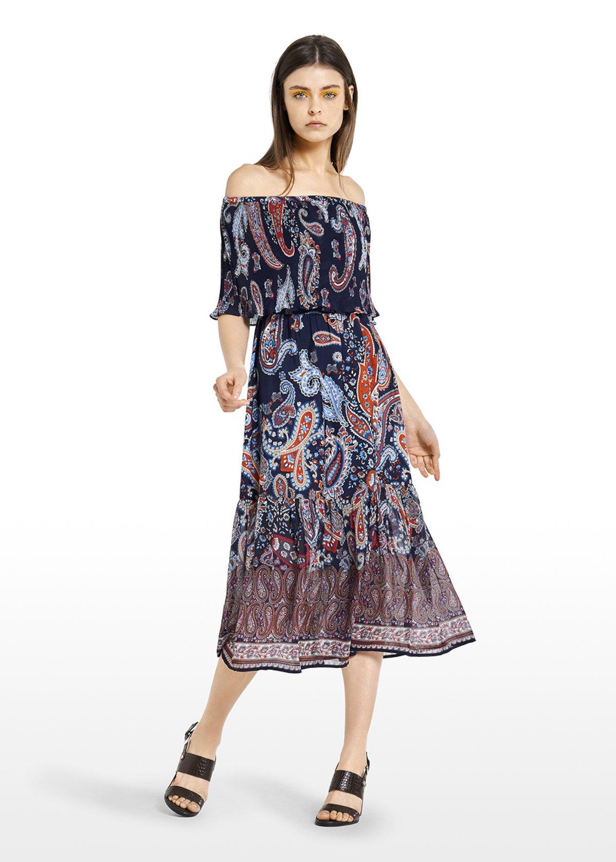 Andy long dress with pleated flounce - Blue / Tulipano Fantasia - Woman