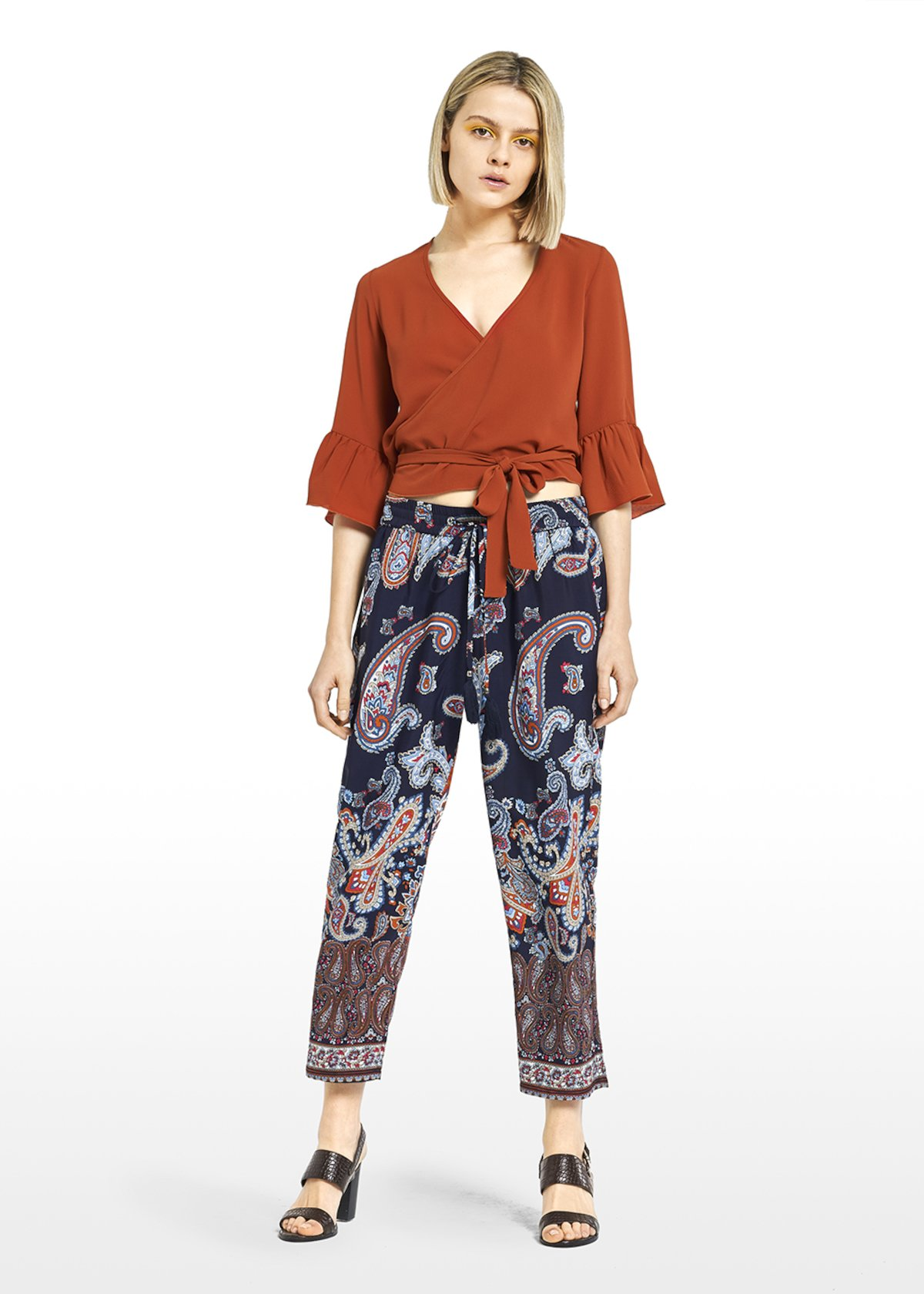 Wide leg Perry trousers with waist belt