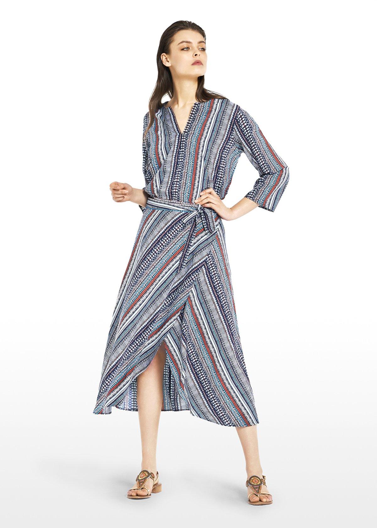 Cheryl blouse stripes fantasy with V-neck - Medium Blue\tobacco\fantasia - Woman