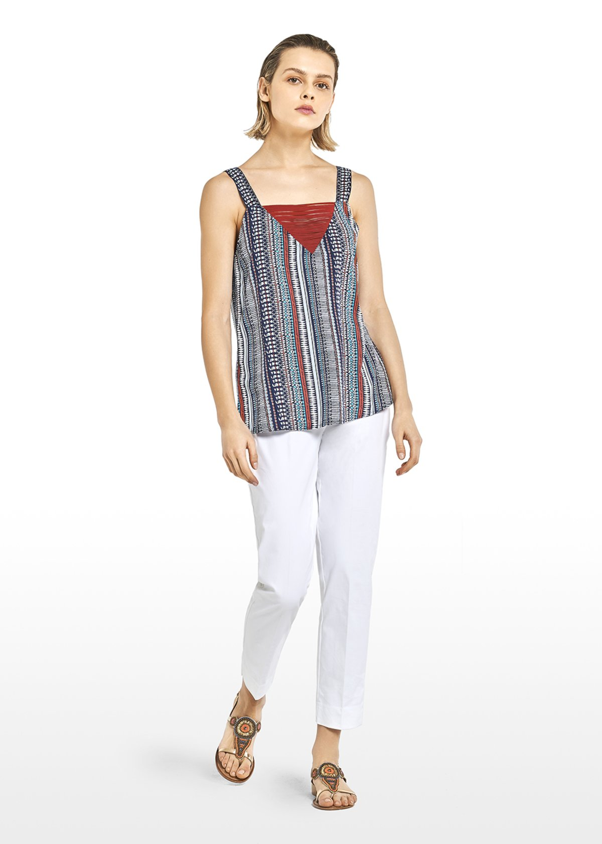 Top Tristan print stripes and polka dots with V-neck - Medium Blue\tobacco\fantasia - Woman