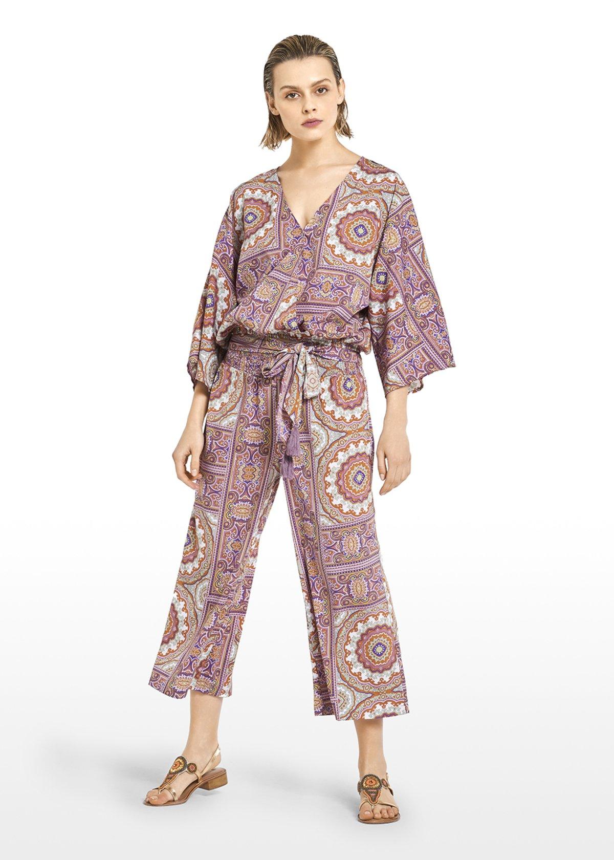 Penny Megan cashmere print trousers - Beige / Carota Fantasia - Woman