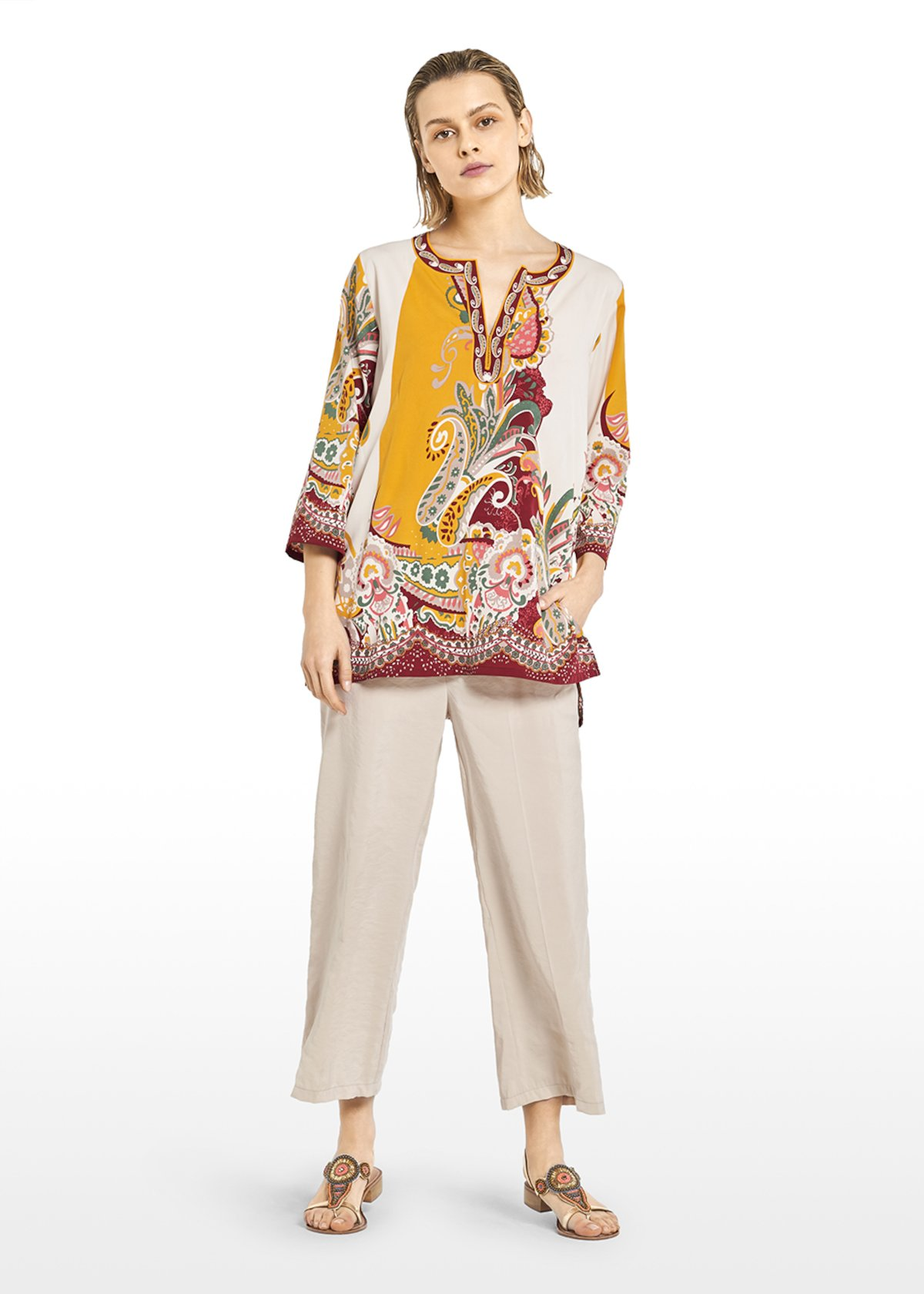 Cyndi Kurta round neckline and small V - Light Beige\ Tulipano\ Fantasia - Woman