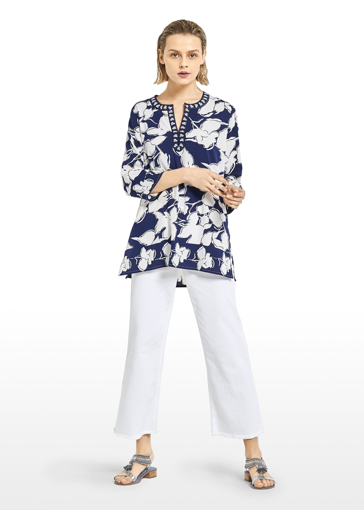 All-over print Kurta 'Cate' with round neckline - Blue / White Fantasia - Woman