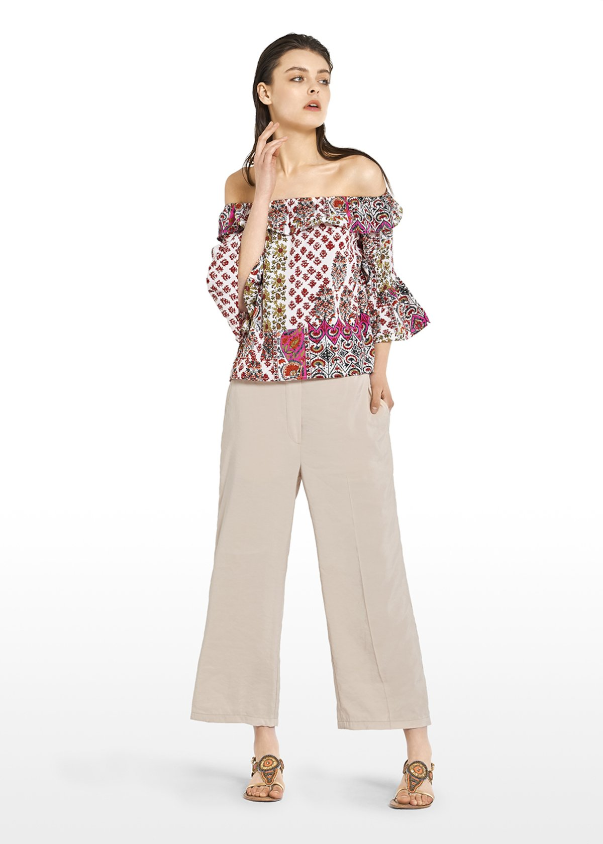 Caryl blouse patterned with flounce - White / Tulipano Fantasia - Woman