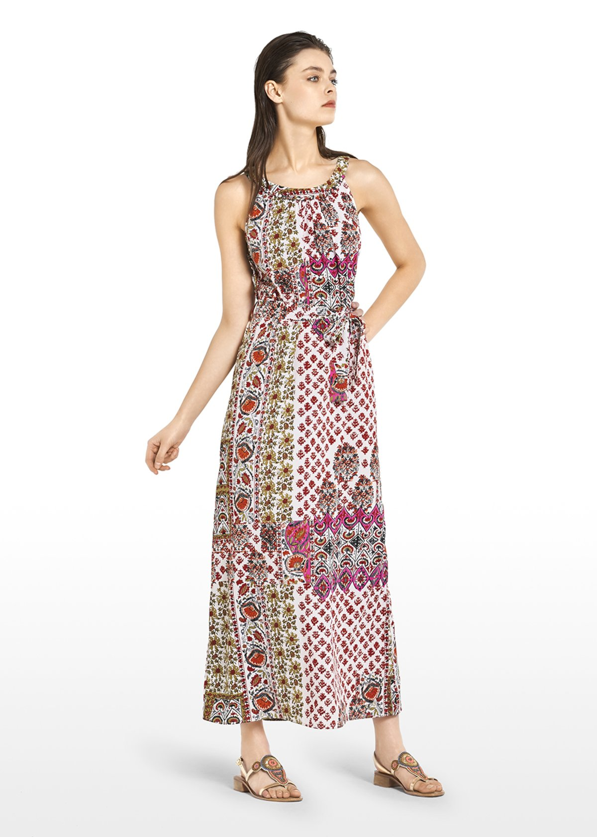 Albert long dress with embroidery at the neck - White / Tulipano Fantasia - Woman